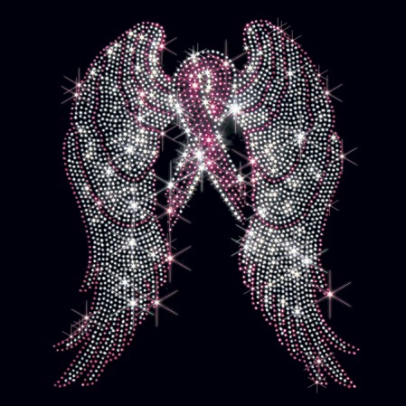 Large Breast Cancer Awareness Wings With Pink Ribbon Stones The