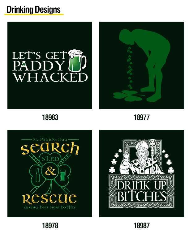St  Patrick's Day Stock Heat Transfer Designs - The Wild Side