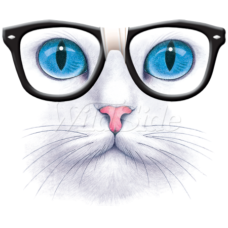 BLUE EYED CAT NERD GLASSES