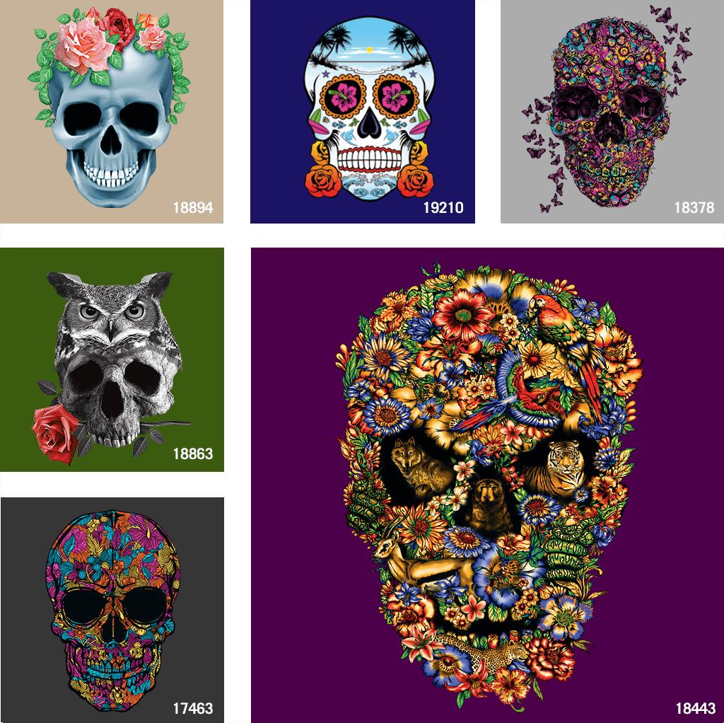 Flower Skull T shirt Designs