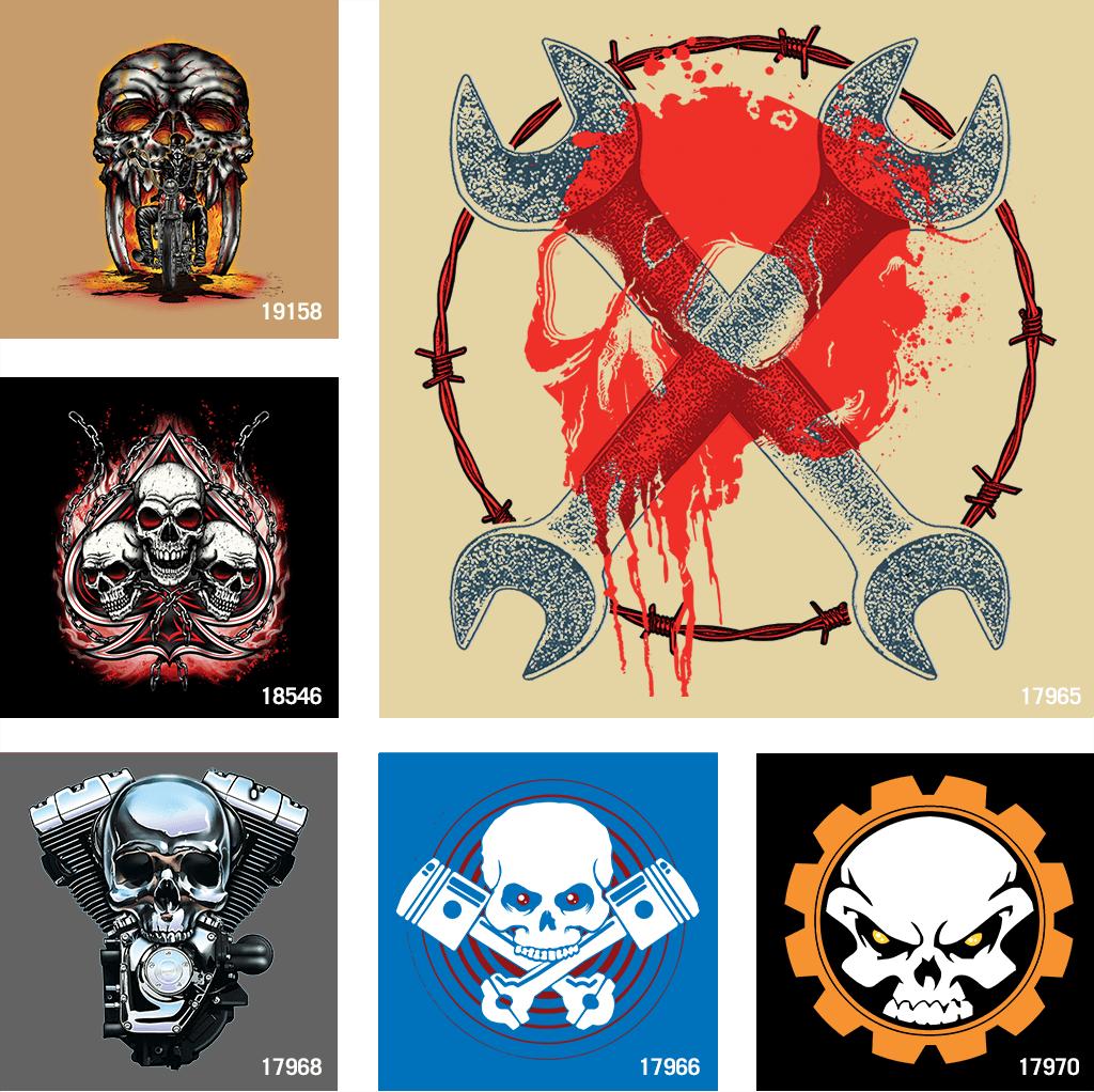 Biker and Automotive Skull t shirt designs