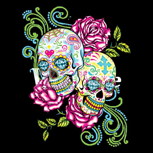 two sugar skulls roses neon