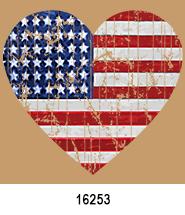 heart flag Patriotic Heat Press Transfers