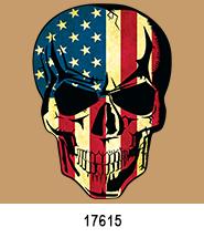 Skull flag Patriotic Heat Press Transfers