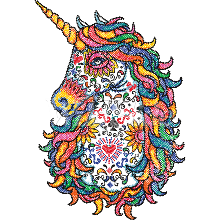 Colorful Unicorn Mosaic Stock Transfer Created by WildSide for T-shirts