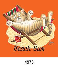 Beach Bum Kitty T-Shirt Design Idea