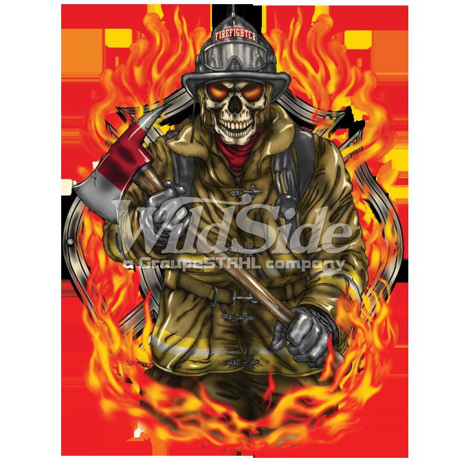 FIREFIGHTER SKULL IN FLAMES