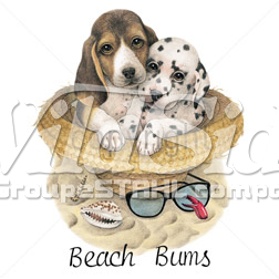 BEACH BUMS PUPPIES IN HAT YOUTH STOCK TRANSFER