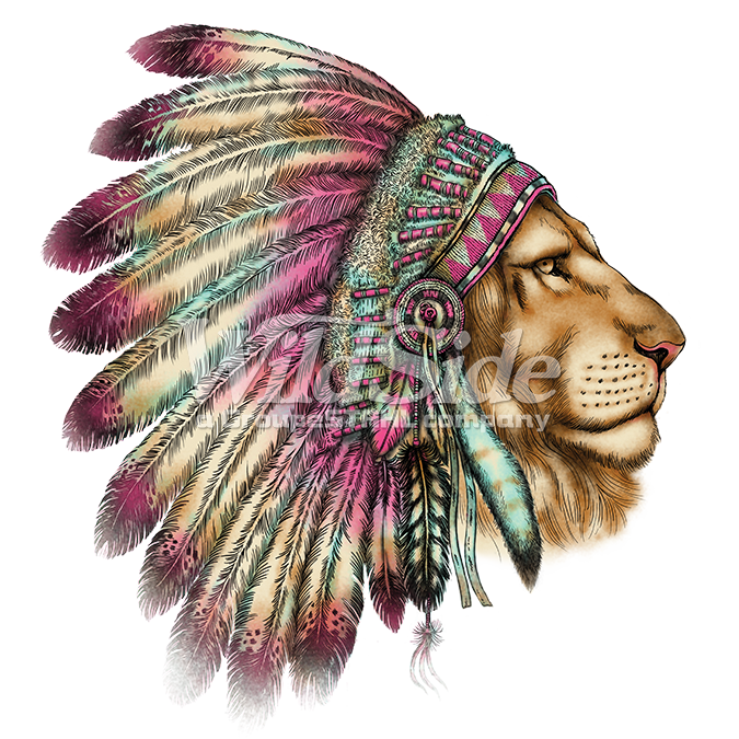 LION HEAD IN INDIAN HEADDRESS